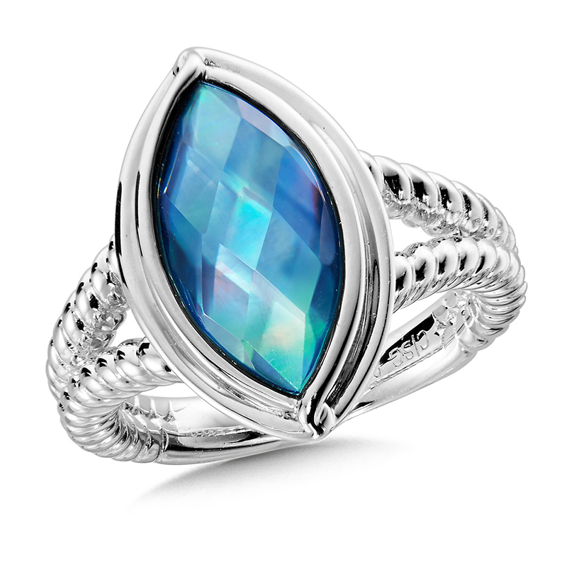 Sterling Silver Quartz with Dyed Blue Shell Ring