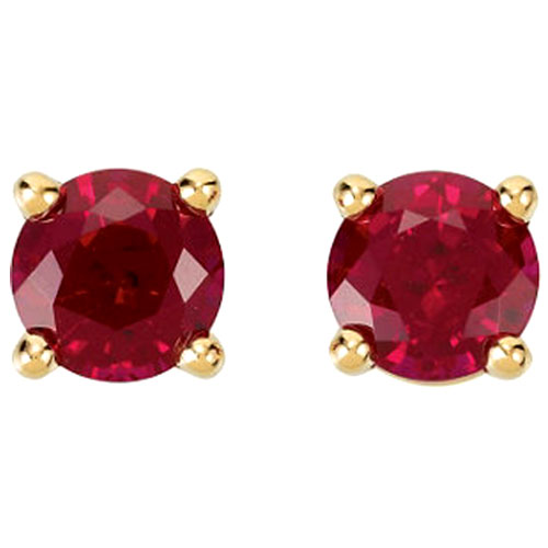 14K Yellow Gold Round Chatham Created Ruby Earrings