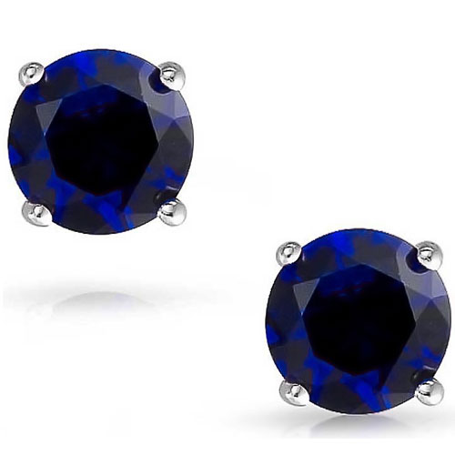 14K White Gold Chatham Created Sapphire 5mm Solitaire Earrings