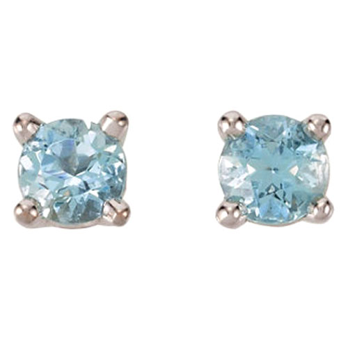 14K White Gold Chatham Aquamarine 5mm Solitaire Earrings