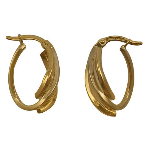 10K Yellow & White Gold Hoop Earrings
