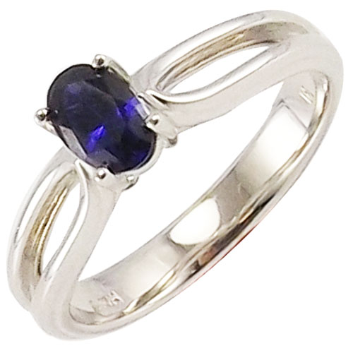 10K White Gold Oval Created Sapphire Ring