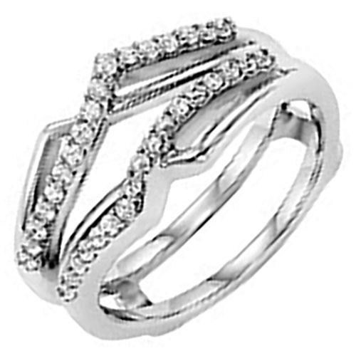 14K White Gold Diamond Drop in Ring Jacket 1/4 ct tw