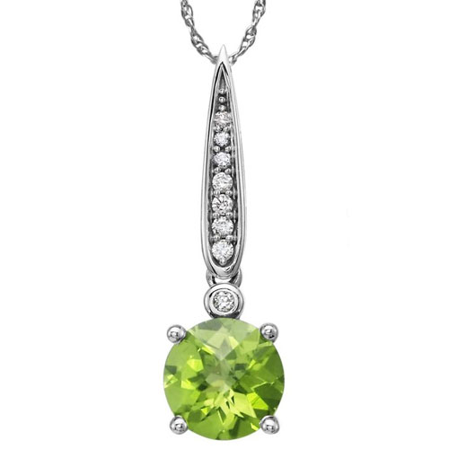 """14K White Gold Peridot and Diamond Pendant 1/20ct tw with 18"""" Chain"""