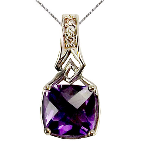 "14K White Gold Amethyst and Diamond Pendant 1/20ct tw with 18"" Chain"