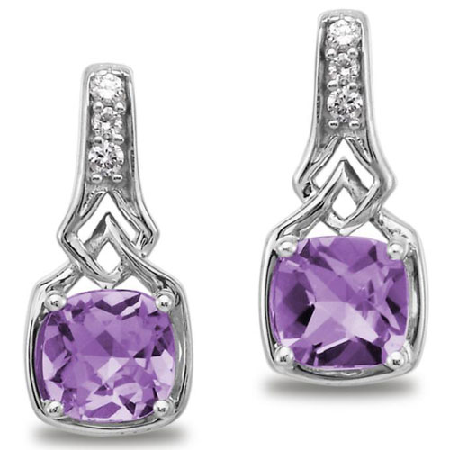 14K White Gold Amethyst and Diamond Earrings 1/20ct tw