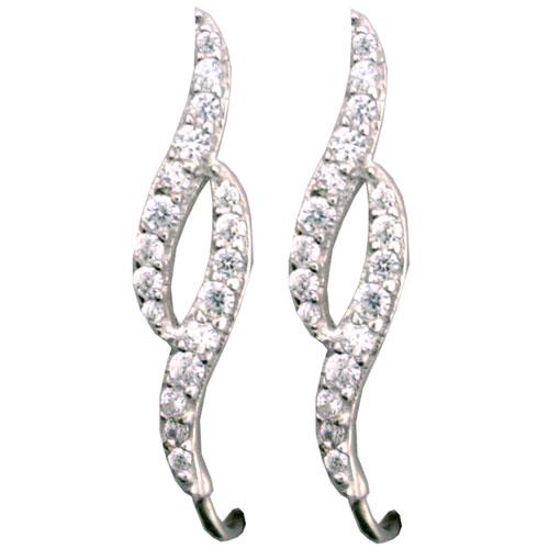 Sterling Silver Cubic Zirconia Double Wave War Climber Earrings