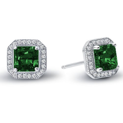 Sterling Silver Simulated Emerald and Simulated Diamond Earrings