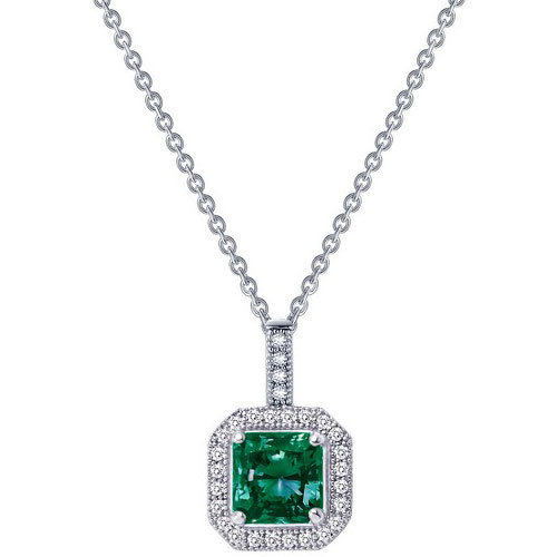 "Sterling Silver Lab Created Emerald and Simulated Diamond Pendant with 18"" Chain"