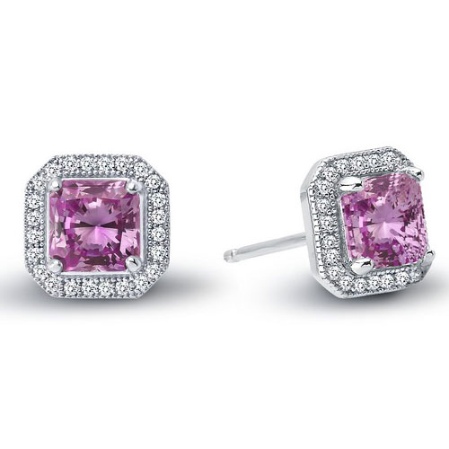 Sterling Silver Created Pink Sapphire Earrings with Simulated Diamonds