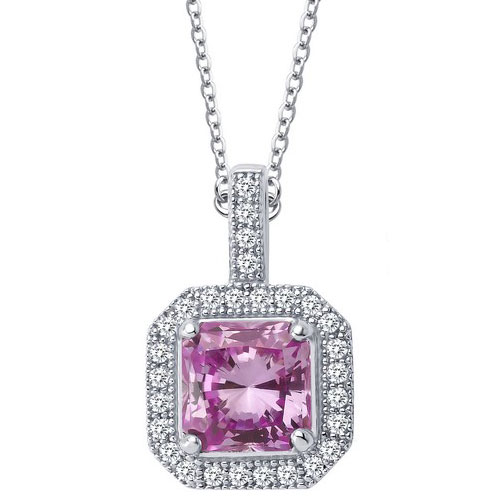 """Sterling Silver Created Pink Sapphire and Simulated Diamond Pendant with 18"""" Chain"""