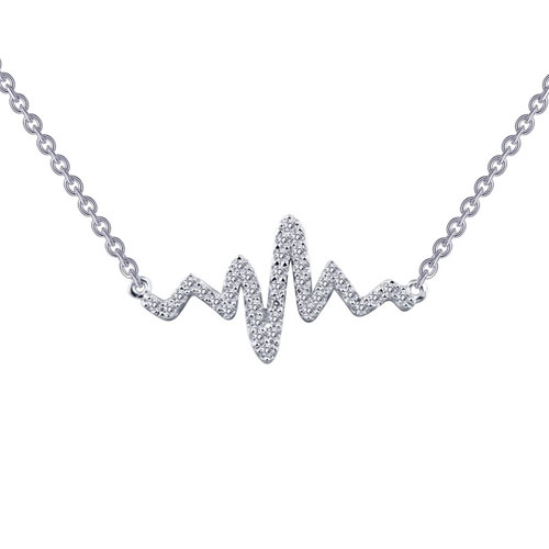"Sterling Silver Simulated Diamond Heartbeat Pendant with 18"" Chain"