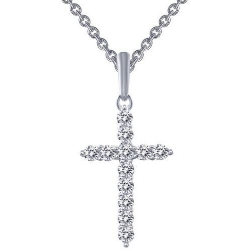 "Lafonn Sterling Silver Simulated Diamond Cross Pendant with 18"" Chain"