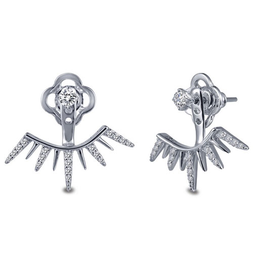 Sterling Silver Simulated Diamond Under Ear Jacket Earrings