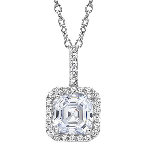 "Sterling Silver Simulated Diamond Pendant with 18"" Chain"