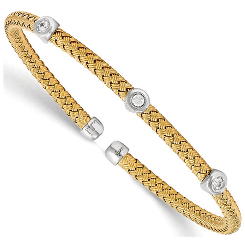 Sterling Silver with Yellow Rhodium Bangle with Cubic Zirconia