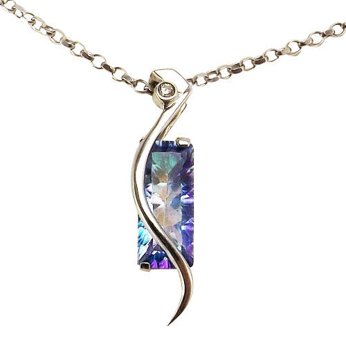 Sterling Silver Seamist Topaz Pendant