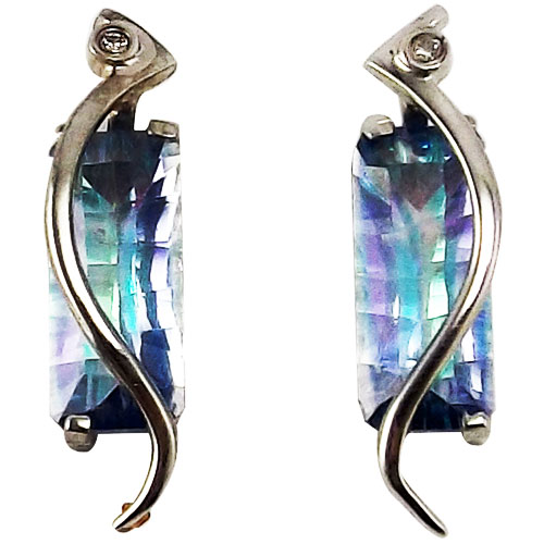 Sterling Silver Seamist Topaz Earrings