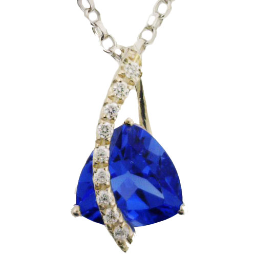 Sterling Silver Created Tanzanite and Cubic Zirconia Pendant