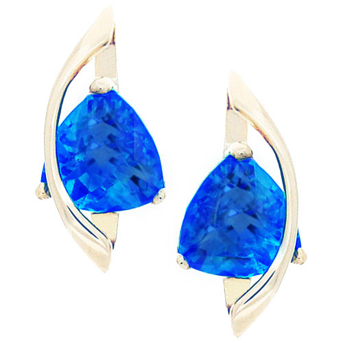terling Silver Created Tanzanite and Cubic Zirconia Earrings