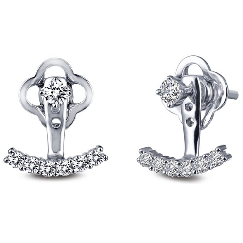 Sterling Silver Simulated Diamond Under Ear Jackets