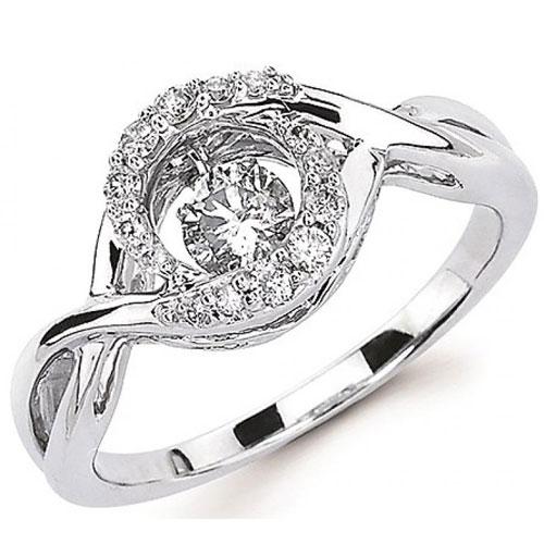 14K White Gold Rhythm of Love Diamond Ring 3/8 ct tw