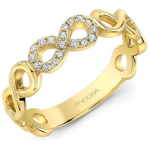 14K Yellow Gold Infinity Diamond Ring 1/10 ct tw