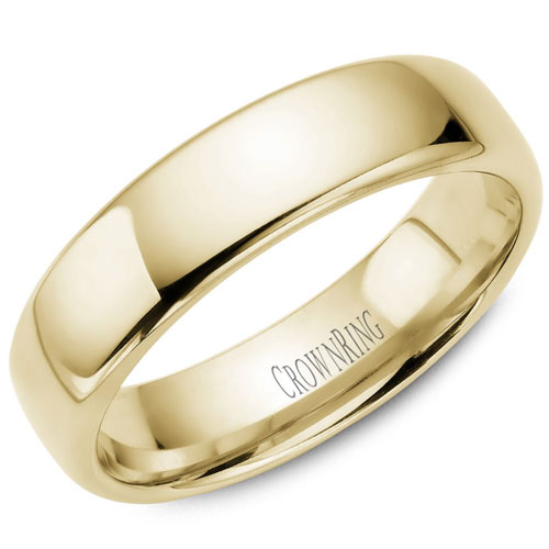 14K Yellow Gold 6mm Heavy Comfort Fit Domed Wedding Band