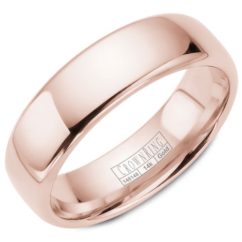 14K White Gold 6.5mm Brushed Wedding