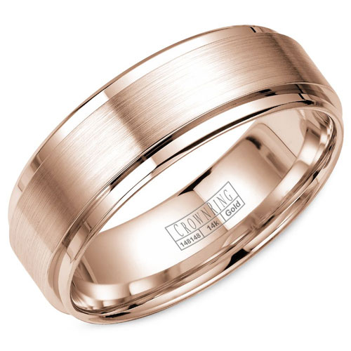 14K Rose Gold 6.5mm Wedding Band, Brushed Center with High Polished Edges