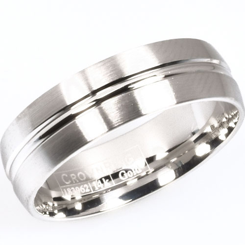 14K White Gold 6.5mm Wedding Band, High Polished and Brushed Design