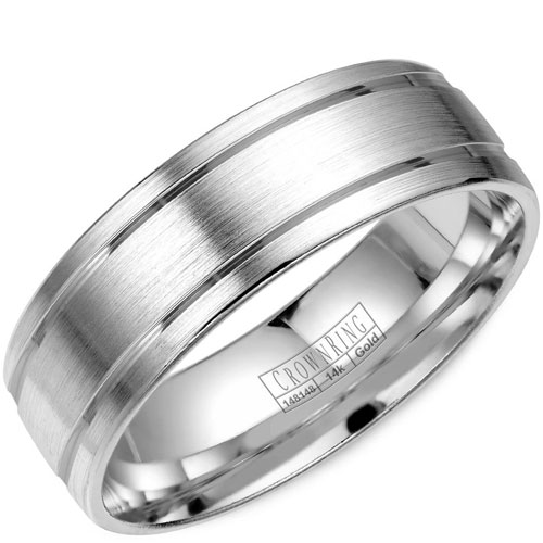 14K White Gold 6.5mm Brushed Wedding Band