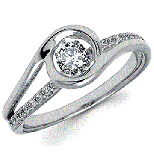 14K White Gold Rhythm of Love Diamond Ring 3/8ct tw