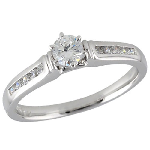 14K White Gold 1/2ctw Diamond Engagement Ring, Center Diamond is .35ct I-VS1