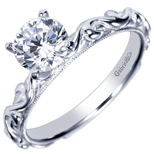 14K White Gold Diamond Engagement Ring, Center Diamond is .31ct H-SI1