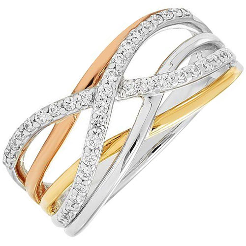 14K Yellow, White & Rose Gold 1/4ct tw Diamond Crossover Ring