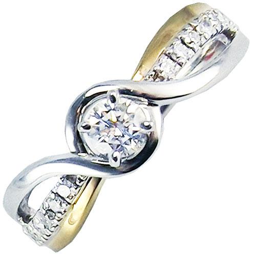 14K Yellow & White Gold 1/3ct tw Diamond Engagement Ring