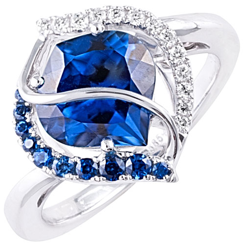 14K White Gold Chatham Sapphire Ring with Diamonds
