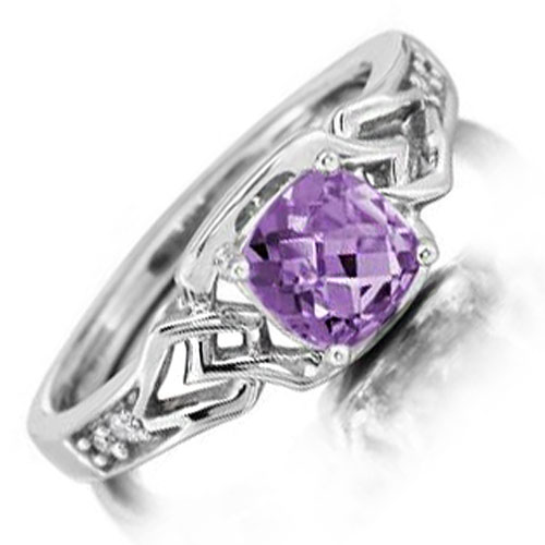 14K White Gold Amethyst and Diamond Ring 1/20ct tw
