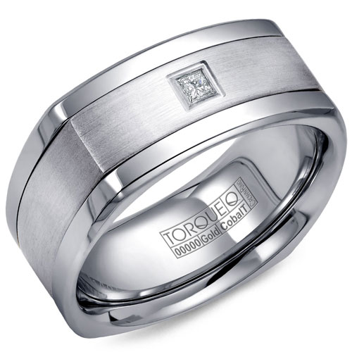 14K White Gold 9mm Wedding Band .10 ct Princess Cut with Cobalt Polished Edges