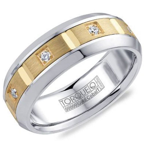 14K Yellow Gold 7.5mm Wedding 1/5 ct tw in Diamonds, Brushed Gold and Cobalt Polished Edges