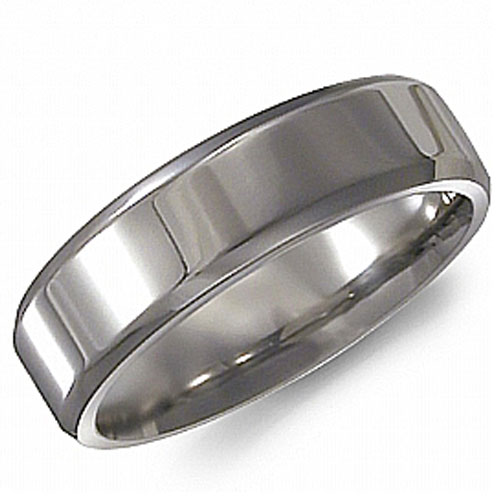 Titanium 6mm Polished Wedding Band with a Beveled Edge