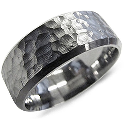 Hammered 8mm Titanium Wedding Band