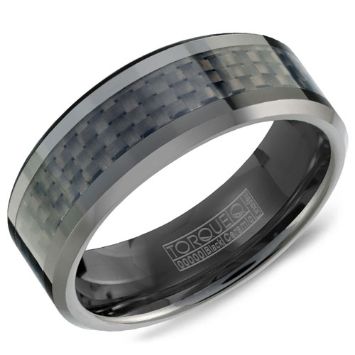 8mm Black Ceramic Wedding Band with Carbon Fiber Inlay