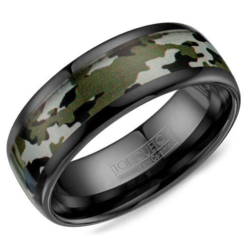 8mm Black Ceramic Wedding Band with Camo Inlay