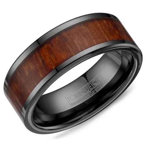 9mm Black Ceramic Wedding Band with Wood Inlay