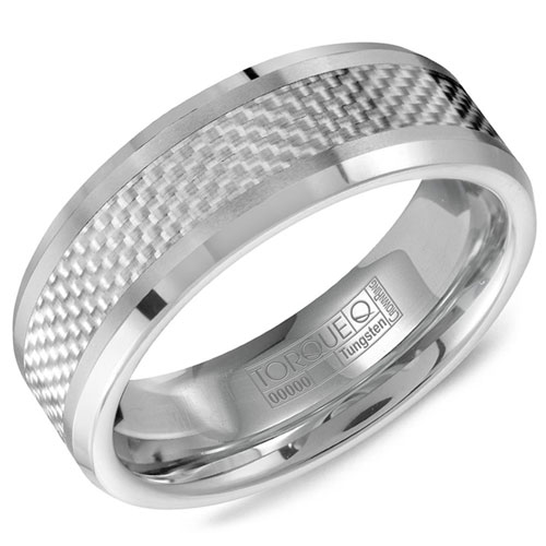 8mm Tungsten Carbide Wedding Band with Carbon Fiber Inlay