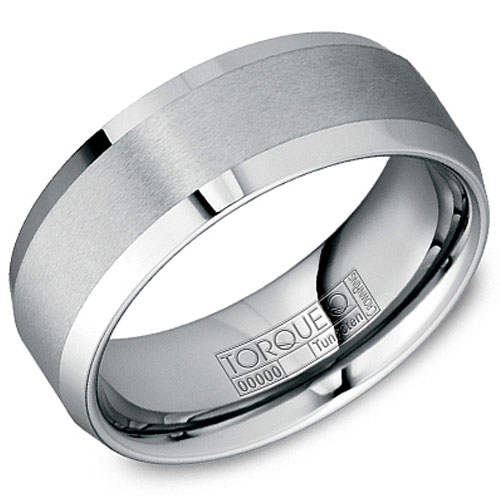 8mm Tungsten Carbide Wedding Band, Brushed Center and Polished Edges