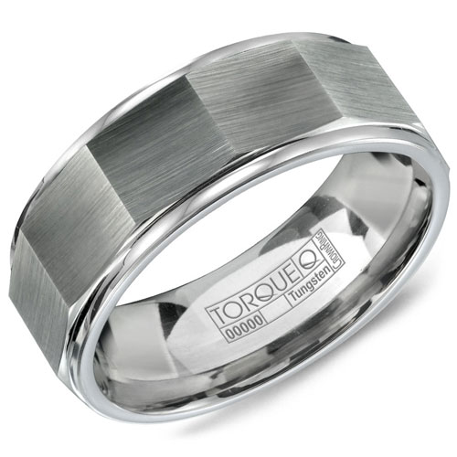 8mm Tungsten Carbide Beveled Wedding Band