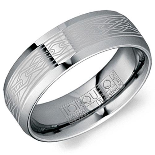 8mm Tungsten Carbide Wedding Band with Laser Design